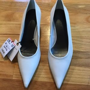 Zara Super pointy white leather kitten heels 7.5